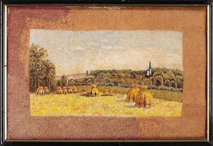 Вышивка «Сенокос». Россия. Конец XIX— началоХХ века. Ткань, вышивка гладью, 26,5x39см.