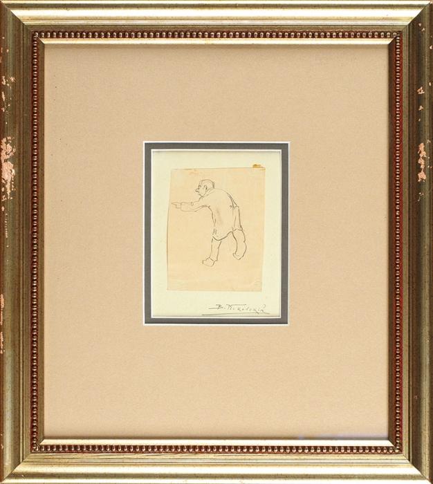 Маковский Владимир Егорович (1846–1920) «Мужская фигура соспины». Начало XXвека. Бумага, графитный карандаш, 8,1x6,3см.