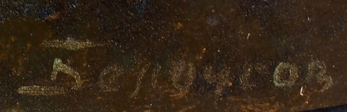 Шкатулка «Украинская сцена». Россия, Федоскино, мастер Белоусов. Начало ХХвека. Папье-маше, роспись. Размер17,5x15x6см.