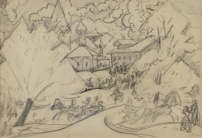 Кустодиев Борис Михайлович (1878–1927) «Масленица». Эскиз-вариант для одноименной картины. 1910-е. Бумага, графитный карандаш, 17,7x25,5см.