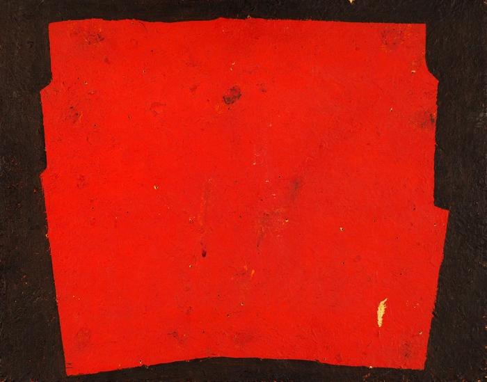 Вечтомов Николай Евгеньевич (1923–2007) «Красное начерном (памяти Малевича)». 1971. ДСП, масло, 36,5x46,5см.