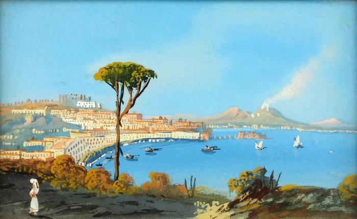 Корроди Саломон (Salomon Corrodi) (1810–1892) «Кастелламаре». Вторая половина XIXвека. Картон, темпера, 11,5x17,5см.