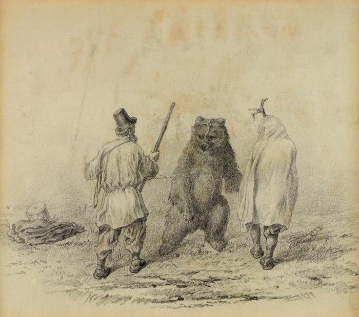Рябушкин Андрей Петрович (1861–1904) «Медведь». Конец XIXвека. Бумага, графитный карандаш, 17,5x20см (всвету).