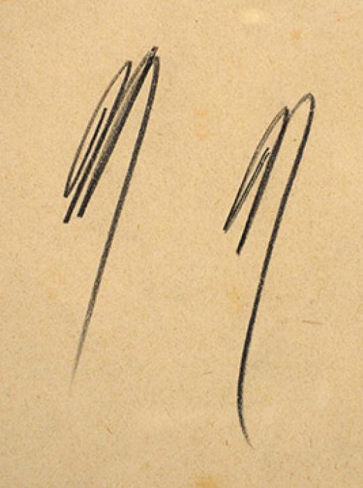 [Собрание О.П. Кончаловской] Кончаловский Петр Петрович (1876–1956) «Модель настуле». 1900-е. Бумага, графитный карандаш, 42,7x30см.