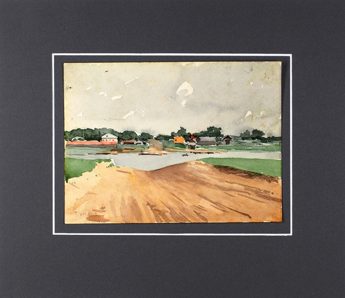 Гурьев Иван Петрович (1875–1943) «Деревня уречки». 1915. Бумага, акварель, 12,3x16,5см.