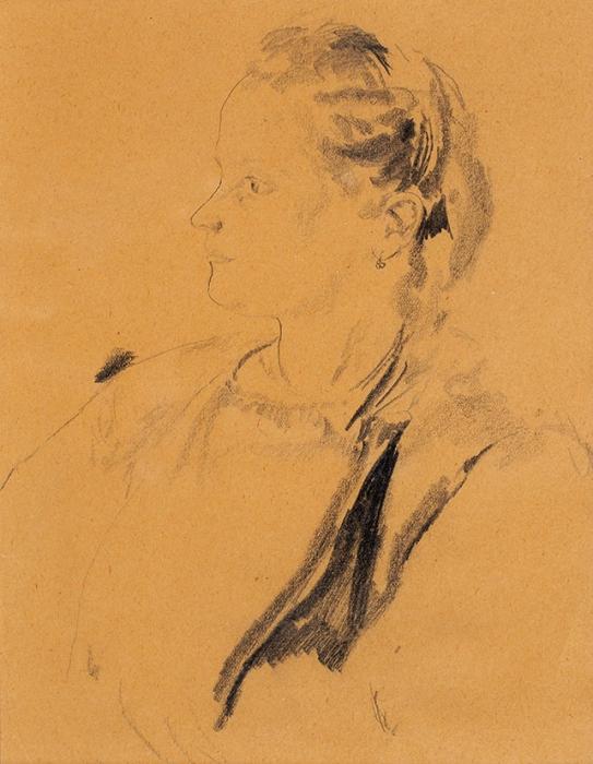 [Собрание М.П. Сокольникова] Малявин Филипп Андреевич (1869–1940) «Портрет жены». Первая четвертьХХ века. Бумага, графитный карандаш, 19,5x15см (всвету).