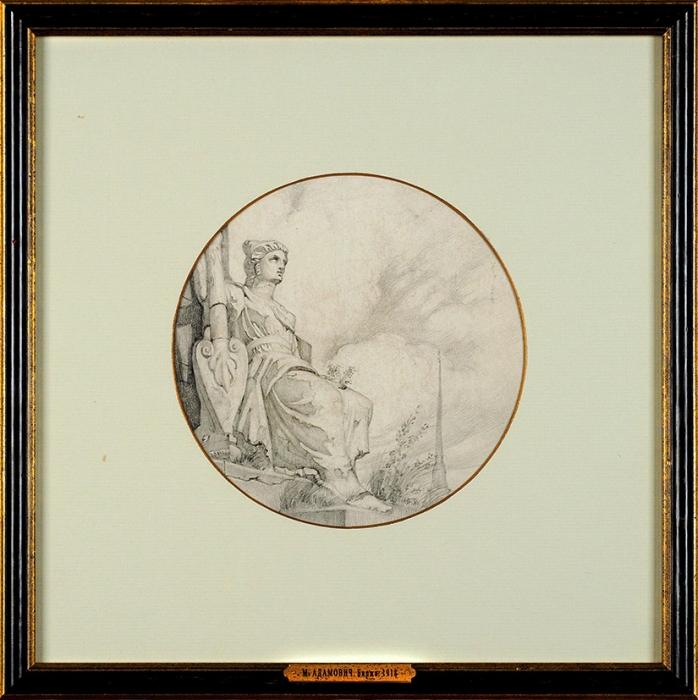 Адамович Михаил Михайлович (1884–1947) Эскиз тарелки «Биржа» для Государственного фарфорового завода.1918. Бумага, графитный карандаш, диаметр 18,5см (всвету).