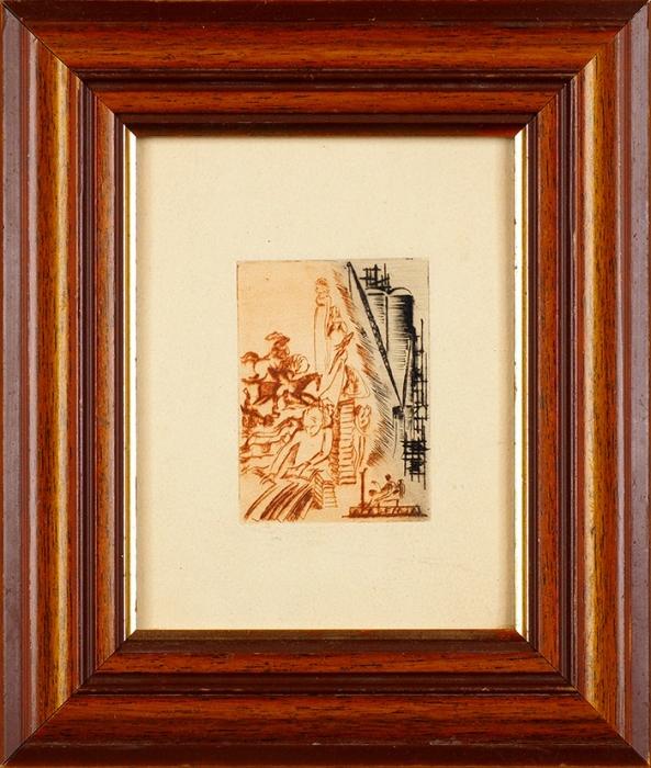[Собрание М.П. Сокольникова] Шор Сарра Марковна (1897–1981) Экслибрис издательства «Academia». 1932. Бумага, офорт, 13,5x10,5см (лист, всвету), 7,2x5,3см (оттиск).