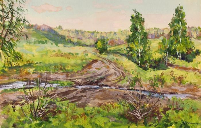 Архангельский Дмитрий Иванович (1885— 1979) «Березки». 1950-е. Бумага, акварель, белила, 25,2x39,4см.