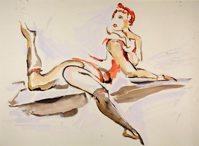 Зусман Леонид Павлович (1906–1984) «Обнаженная». 1961. Бумага, графитный карандаш, акварель, белила, 40,5x55,5см (всвету).