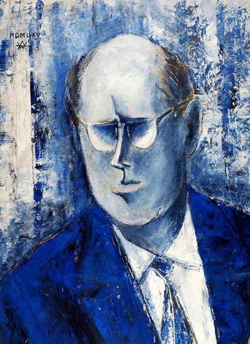 Вагин Андрей «Портрет М. Ростроповича». 1965. Картон, смешанная техника, 46,5x34см.