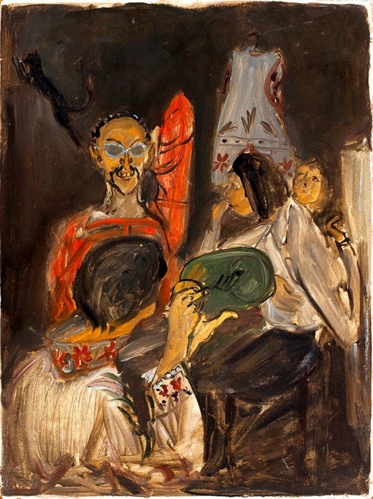 Конышева Натта Ивановна (род.1935) «УВалерия Голикова». 1967. Оргалит, масло, 47x35см.