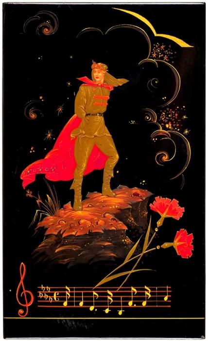 Плакетка «Орленок». СССР, Холуй. Вторая половина 1960-х. Папье-маше, роспись. Размер 20x12,3см.