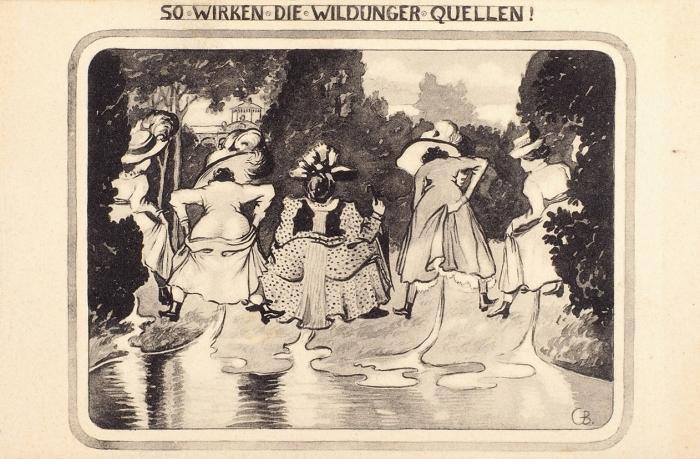 Четыре хулиганские открытки натуалетную имежполовую тему. Германия, нач. ХХв.