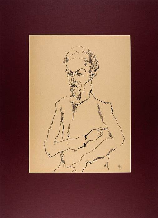 Софронова Антонина Фёдоровна (1892–1966) «Мужской портрет». 1926. Бумага, тушь, кисть, 34x25см (всвету).
