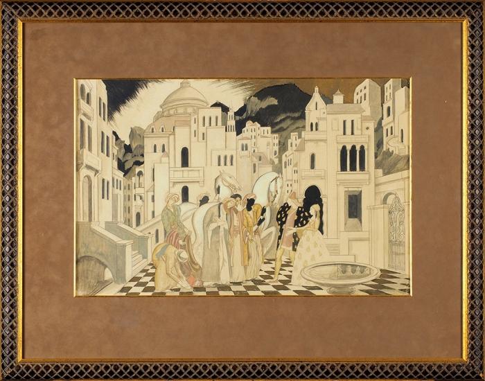 Латри Михаил Пелопидович (1875–1942) Декоративный эскиз «Дары сВостока». 1920-е. Бумага, акварель, 32,5x49,5см.