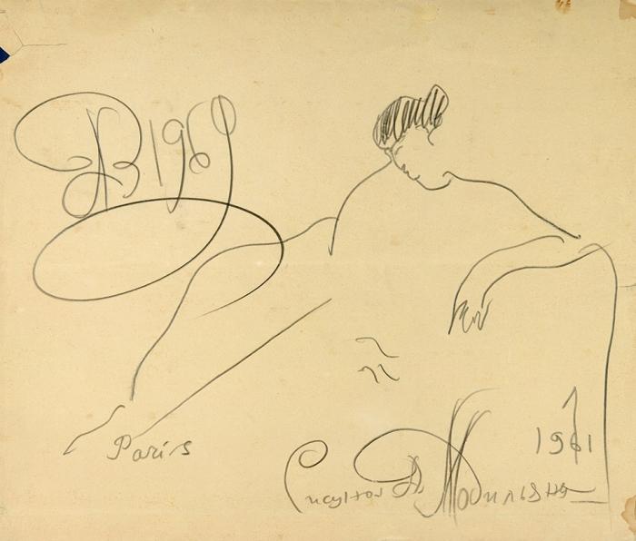 [Собрание Джино Синигальи] Зверев Анатолий Тимофеевич (1931–1986) «Рисунок Модильяни». 1969. Бумага, графитный карандаш, 23,5x28см.